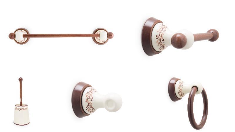 ... Conjunto accesorios pared Clásico 5 piezas. Accesorios baño en madera y  porcelana 198 b9648828b708