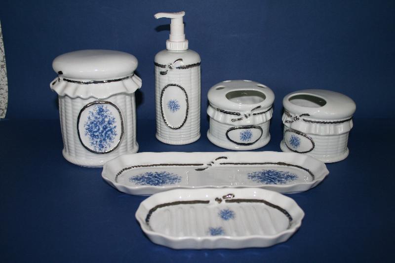 Juego 3 piezas de porcelana lazo oro ref 466 abc ba o for Accesorios bano porcelana