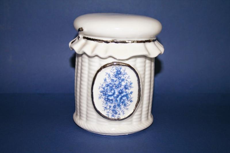 Tarro peque o de porcelana lazo oro ref 471 abc ba o for Accesorios bano porcelana
