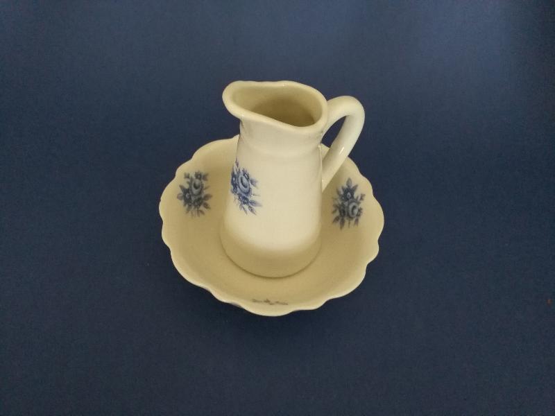 Lavamanos porcelana decorativo flor azul ref 181 abc ba o for Accesorios bano porcelana