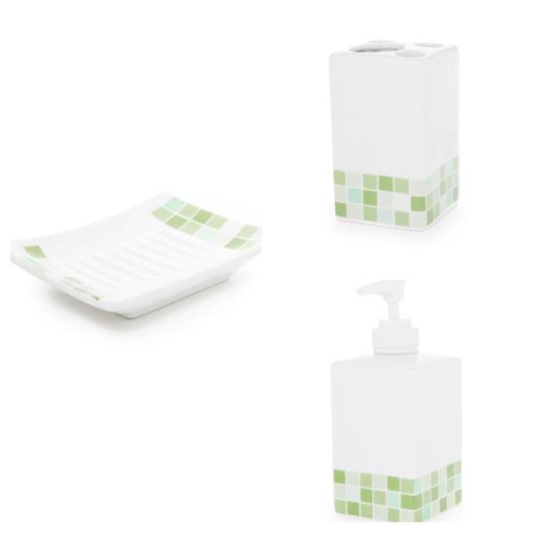 Juego 3 piezas de porcelana cuadrado gresite verde ref for Accesorios bano porcelana
