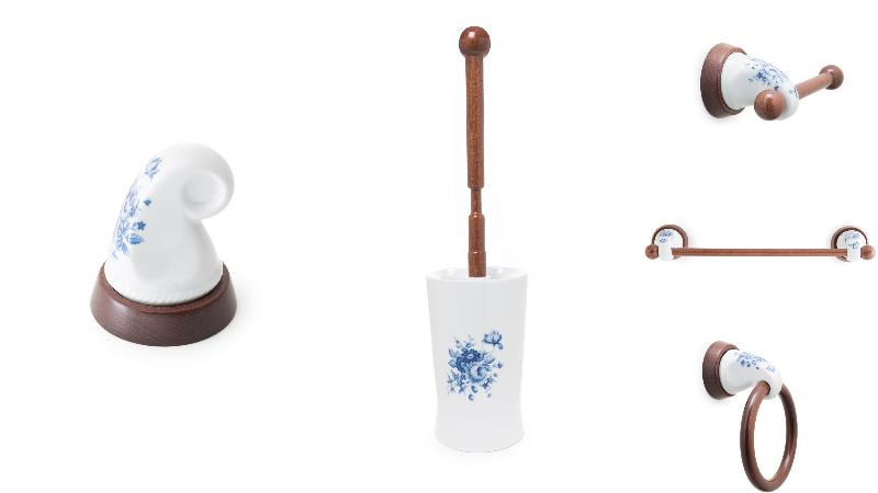 Conjunto accesorios pared bano 5 piezas flor azul ref for Conjunto accesorios bano