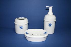 Accesorios baño de encimera en porcelana 959 - Juegos 3 piezas de porcelana Roma flor azul
