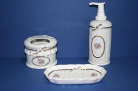 Accesorios baño de encimera en porcelana 466 - Juego 3 piezas de porcelana Lazo oro