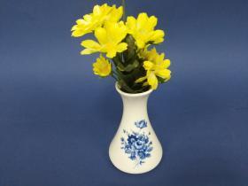 Accesorios baño en madera y porcelana 478 - Violetero Ébano flor azul