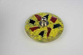 Tapones de lavabo decorados 1432 - Tapón  cristal fusing amarillo-verde-rojo