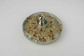 Tapones de lavabo decorados 1433 - Tapón cristal fusíng amarillo y marrón