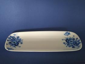 Accesorios baño de encimera en porcelana 964 - Vaso de porcelana Roma flor azul