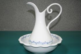 Complementos de baño 101 - Lavamanos porcelana para palanganero laurel azul