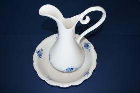 Complementos de baño 100 - Lavamanos de porcelana para palanganero flor azul