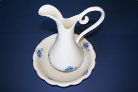 Accesorios baño en madera y porcelana 182 - Lavamanos de palanganero flor azul
