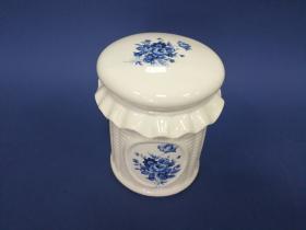 Accesorios baño en madera y porcelana 14311 - Tarro pequeño  Ébano flor azul