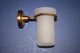 Accesorios baño en latón 758 - Portavaso pared Neptuno cuero