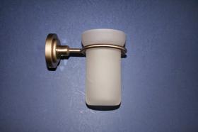 Accesorios baño en latón 859 - Portavaso pared Neptuno acerado