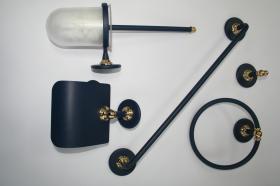 Accesorios baño en metal 292 - Conjunto accesorios pared 5 piezas Ovni azul