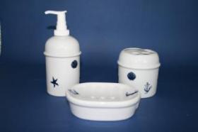 Accesorios baño de encimera en porcelana 948 - Juego 3 piezas de porcelana Roma marino