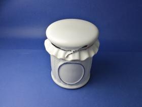 Accesorios baño de encimera en porcelana 571 - Tarro pequeño de porcelana Lazo filo cromo