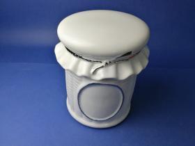 Accesorios baño de encimera en porcelana 574 - Tarro grande de porcelana Lazo filo cromo