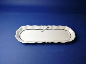 Accesorios baño de encimera en porcelana 570 - Bandeja de porcelana Lazo filo cromo