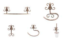 Accesorios baño en forja 1250 - Conjunto accesorios pared Versalles 5 piezas anticuario
