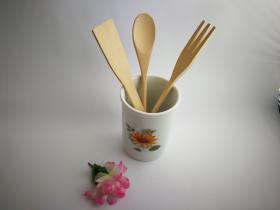 Complementos de baño 8011 - Bote de cocina con utensilios de madera girasol