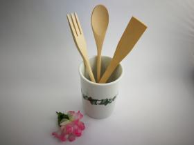 Complementos de baño 8013 - Bote de cocina con utensilios de madera hiedra