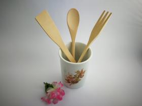 Complementos de baño 8014 - Bote de cocina con utensilios de madera avellana