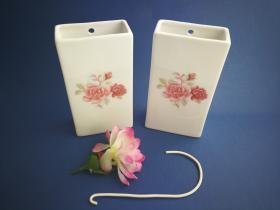 Complementos de baño 6015 - Humidificador de porcelana decorada flor rosa 2 unidades