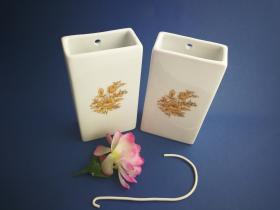 Complementos de baño 6019 - Humidificador de porcelana decorada flor oro 2 unidades