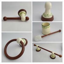 Accesorios baño en madera y porcelana 298 - Conjunto 3 piezas encimera Clásico