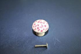 Tiradores de muebles 1219 - Tirador porcelana tapíz rosa