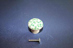 Tiradores de muebles 1231 - Tirador porcelana tapíz verde