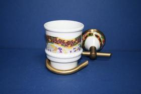 Accesorios baño en latón y porcelana 558 - Portavaso pared Conic