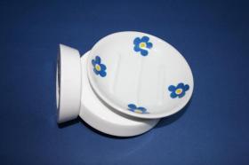 Accesorios baño en madera y porcelana 1271 - Portajabonera pared agua  ágata azul