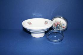 Accesorios baño en latón y porcelana 498 - Portajabonera pared  Lys