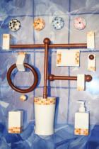 Accesorios de pared  Ébano  Accesorios baño en madera y porcelana
